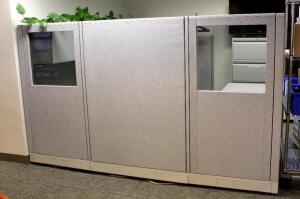 "Complete Hon Cubicle Workstation Including 2 Drawer Horizontal Filing Cabinet, Lighted Overhead Storage Cabinets And Return - 62.5"" x 108"" x 108"", Contents Not Included, Bidder Responsible For Proper Removal"