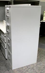 "Hon Metal 4 Drawer Filing Cabinet 52"" x 15"" x 25"", Contents Not Included"