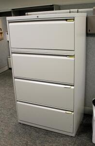 "Hon Metal 4 Drawer Horizontal Filing Cabinet - 52.5"" x 30"" x 18"""