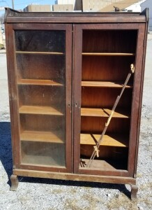 QuarterSawn Oak Two Door Bookcase With Gallery, Original Shelving, Needs Repair, Fire Damage To Top