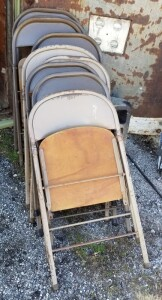 Metal Framed Wood Seat Folding Chairs, Qty 10