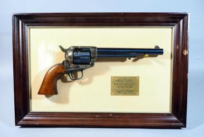 "Franklin Mint ""The Doc Holliday .45 Revolver"" Replica With Frame, This Is A Non-Firing Replica But Has All The Heft And Weight Of An Actual Firearm"