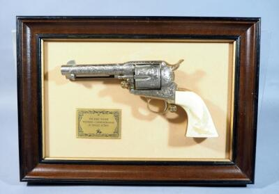 Franklin Mint John Wayne Western Commemorative .45 Single Action Revolver With Frame, Non-Firing Replica But Has All The Heft Of An Actual Firearm