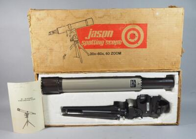 Jason Model 330 Spotting Scope 20x,-60x, 60 Zoom, With Tripod Stand And Manual, In Box