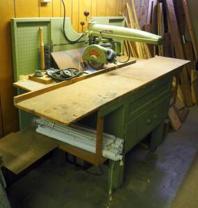 "DeWalt, Model BF, Radial Arm Saw With Carpenter's Bench, Bench Measures 52"" x 81"" x 31"""