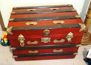 Refinished Antique Travel Trunk With Metal Hardware, Includes Inner Tray, Contents Not Included