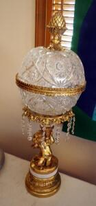 "Antique Brass Style And Crystal Parlor Lamp, 27"" Tall, Powers On, Includes Extra Crystal Prisms"