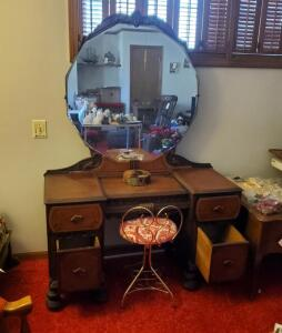 "Antique Solid Wood 4 Drawer Vanity With Leaded Beveled Glass Mirror, 67"" x 46"" x 18"", With Metal Vanity Stool, Contents Not Included"