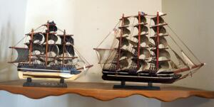 "Handcrafted Model Sailing Ships, Qty 2, 14.5"" x 19"" And 11"" x 14"""