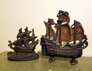 "Antique Cast Iron ""Ship"" Door Stops, Qty 2, 11"" x 11"" And 8"" x 8"""