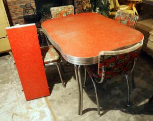 "Retro Chrome Dinette Set With Formica Top And 4 Vinyl Covered Matching Chairs And Leaf, Table Measures 30"" x 48"" x 36"", Leaf Measures 12"""
