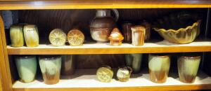Frankoma Stoneware Collection, Including Tea Set, Salt And Pepper Shakers, Creamer, Cups, And More; Contents Of 2 Shelves