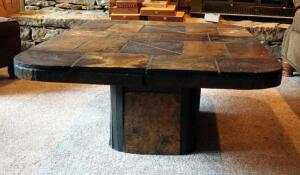 "Slate Stone Coffee Table With Pedestal Base, 16"" x 47.5"" x 31.75"""