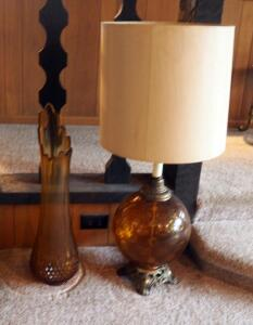 "25"" Blown Art Glass Vase And 36"" Mid Century Glass Table Lamp"