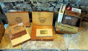 Collectible Wood And Cardboard Cigar Boxes Including Lawrence Barrett, Jose Benito, Joya, And More, Qty 11
