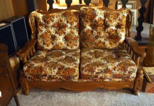 "Vintage Howard Wood Framed Upholstered Early American Loveseat With Nailhead Trim, 32"" x 57"" x 34"""