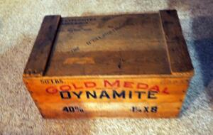 Vintage Gold Medal Dynamite Storage Box With Hinged Lid, Cowhide Covered Trinket Box, And More