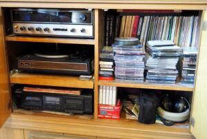 Vintage Kenwood Stereo Receiver, Model KR-4130; Garrard Turntable; Sony Dual Cassette Deck, Model TC-WE305, Records, Cassettes and CDs, Contents of Cabinet