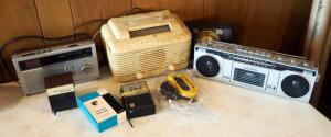 Vintage Radio Assortment Including Crosley AM Radio, Sanyo Cassette Player, Solid State Pocket Radio, And More; Qty 8