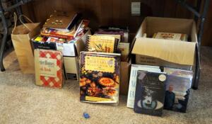 Hardback Book Collection Including Novels And Assorted Cookbooks, Approximately 50, Contents Of 3 Boxes