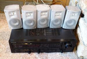 Kenwood AM/FM Stereo Receiver, Model KR-A5020; And Insignia Surround Speakers, Model IS-HTIB102732, Qty 5
