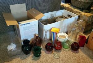 Glass Vase Assortment; Various Styles And Sizes, Contents Of 2 Boxes
