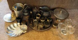 Collectible Alden And Salem Pewter Sugar And Creamer Sets, WM Rogers Silverplate Teapot, Round Serving Platter, And More