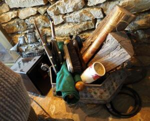 Fireplace Tools Including Bellows, Matches, Metal Ash Bucket, And More