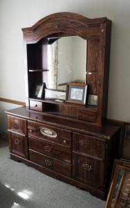 "Five Drawer Dresser With Hutch Style Top And Side Storage, 79"" x 62"" x 16"", Contents Not Included"