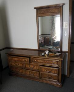 "8 Drawer Dresser With Side Mirror, 78"" x 66"" x 18""; With Matching Nightstand, 22.5"" x 27.5"" x 15""; Contents Not Included"