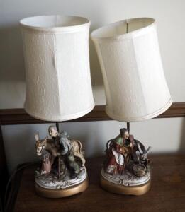 "21"" Decorative Ceramic Base Table Lamps, Qty 2; Minor Damage"