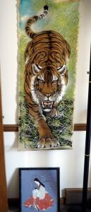"Painted Silk Asian Tiger Banner, 48"" x 19"" And Framed Asian Mother With Child Art Work, 16"" x 14"""