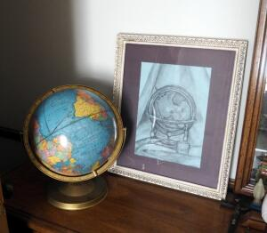 "Vintage Cram's Imperial 12"" Double Axis World Globe And Framed Matted Under Glass L. La Mona Art Work, 22"" x 18.5"""