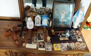 Religious Items Including Crucifixes, Rosaries, Saints, Framed Crucifixion Print, Olive Tree Gavel, And More