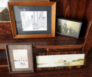 Framed Under Glass Nautical Art And Martin Zang Sketch, Qty 4 Pieces