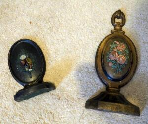 "Antique Cast Iron Door Stops With Flower Motif, 6"" To 10"" Tall, Qty 2"