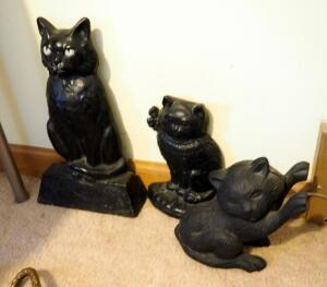 "Antique Cast Iron Kitty Cat Door Stops, 6.5"" To 13"" Tall, Qty 3"