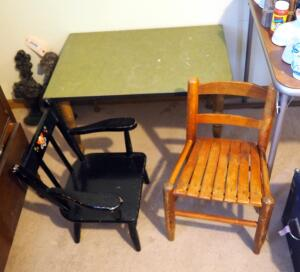 Child's Table With Spindle Legs And Vintage Children's Chairs, Qty 2