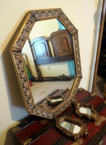 "Decorative Hall Mirror, 28.5"" x 22"", And 2 Small Accent Mirrors"