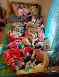 Doll And Stuffed Animal Assortment Including Handmade Crocheted, Garfield, Rugrats, Pink Panther, And More