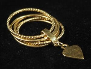 14k Gold Ring, 5 Separate Bands Held Together With Heart Charm, Size 4-1/4, 2.7g Weight Including Charm
