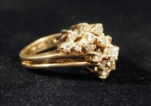 14k Gold Diamond Ring, Size 5, 6.55g Including Stones