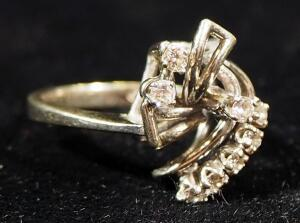 14k White Gold Diamond Ring, Size 5, 3.66g Including Stones