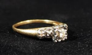 14K Gold Plated Diamond Ring, Size 8, 2.74g Including Stones