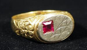 10K Gold Ring With Magenta Stone, Size 11.5, 7.54g Including Stone