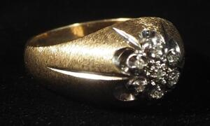10k Gold Diamond Ring, Size 9, 5.6g Weight Includes Stones