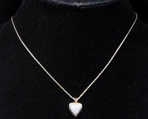 "14k Gold Necklace, 17"" Long, With Heart Shaped Pendant With Clear Stones, 2.1g Including Pendant"
