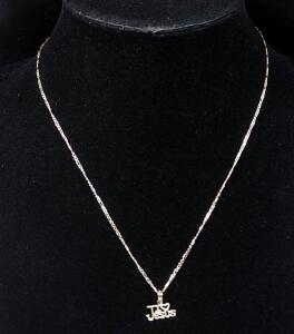 "14k Gold Necklace, 18.5"" Long With 14k Gold ""I 'Heart' Jesus"" Pendant, 1.4g Total Weight"