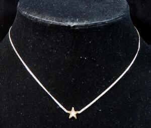 "14k Gold Necklace With Stationary Star Pendant, 14"" Long, 1.27g Including Pendant"