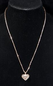 "14k Rose Gold Necklace, 21"" Long, With 14k Rose Gold Heart Pendant, 6.48g Total"